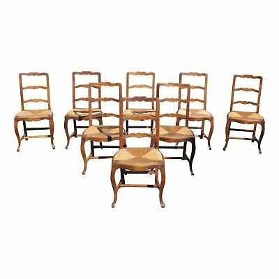 Set of 8 French Country Rush Seat Solid Walnut Dining Chairs Circa 1910s AS IS