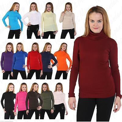 Women Ribbed High Roll Polo Loose Neck Ladies Long Sleeve Stretch Top Shirt 8-22