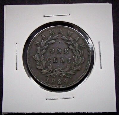 1889-H Sarawak 1c One Cent Coin - Charles J Brooke Type I - Heaton and Sons - 32