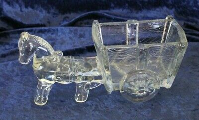vintage LARGE horse donkey cart wagon GLASS clear moulded statue ornament 23cm