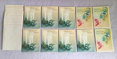 Vintage Norcross Christmas Thank You Cards Envelopes Lot Of 10