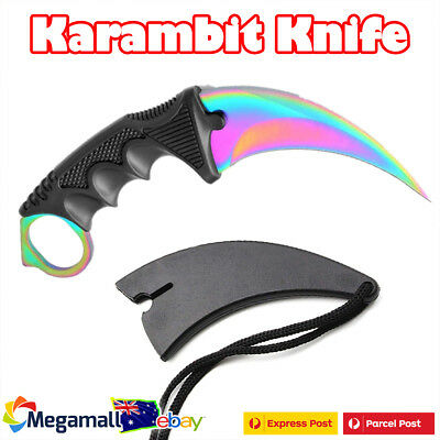 NEW Outdoor KARAMBIT NECK KNIFE Survival Hunting Fixed Blade+Sheath Blue