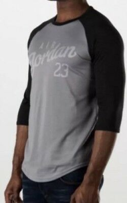 eb997370cabac0 SZ SMALL Jordan Nike Air Men s Raglan Tee Shirt 3 Quarter T-Shirt 724492-