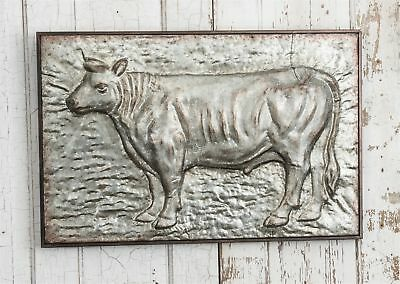 Large Embossed Cow Plaque Metal Wall Hanging Farmhouse Decor Vintage Distressed