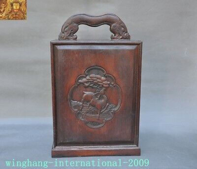 "16""Collect Chinese Huanghuali Old Wood carved Sika deer Storage drawer Box Boxes"
