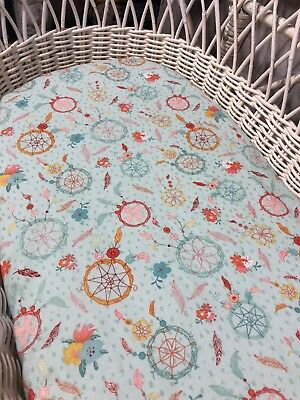 Moses basket bassinet bedding mint boho fitted sheet dream catcher feathers