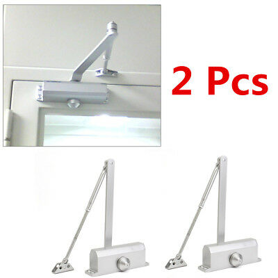 2X 65-85KG Silver Aluminum Commercial Door Closer Two Independent Valves Control