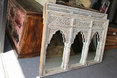 Wall Mirror JHAROKHA Triple ARCH RUSTIC CARVED WOOD White Vanity MIRRORS