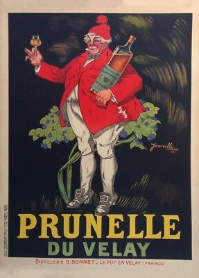 PRUNELLE DU VELAY, France, Vintage Beers, Wines & Spirits Art Deco Poster