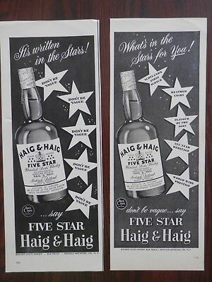 Lot of 2 Different Vintage Print Ads, Haig & Haig Five Star Whiskey