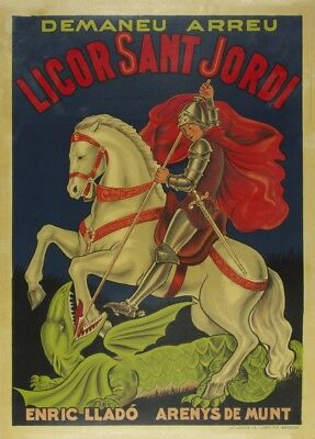 LICOR SANT JORDI, France, Vintage Beers, Wines & Spirits Art Deco Poster