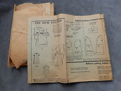 Vintage 1920's doll clothes pattern, Butterick 6464...THE NEW DELTOR
