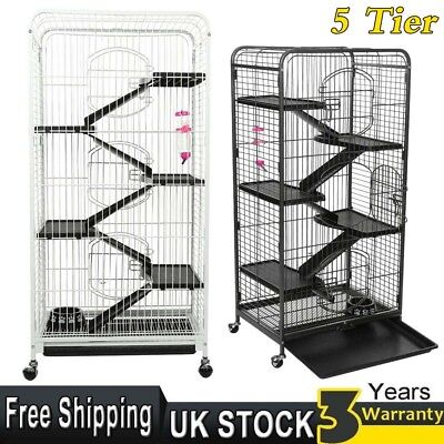 5 Tier Ferret Rabbit Guinea Chinchilla Hamsters Pig Rodents Hutch Cage Wheels UK
