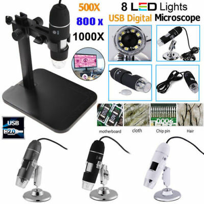 500X-1000X Digital Microscope 8 LED Endoscope USB2.0 Zoom Magnifier Camera+Stand
