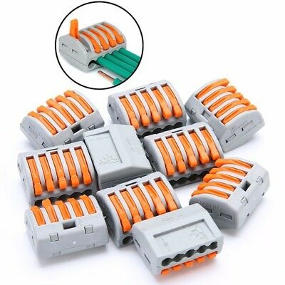 10Pc Reusable Spring Lever Terminal Block Electric Cable Wire Connector 5Way