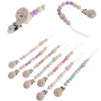 Wooden Pacifier Clip Chain Holder Nipple Leash Strap Pacifier Soother Baby New