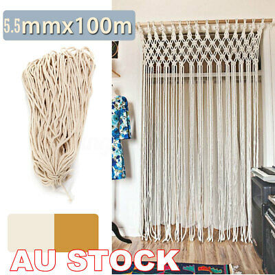 5mm Macrame Rope Natural Beige Cotton Twisted Cord Artisans Hand Craft 100M AU