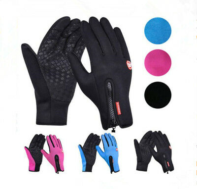 Winter Warm Windproof Waterproof Anti-slip Thermal Touch Screen Gloves Zipper UK