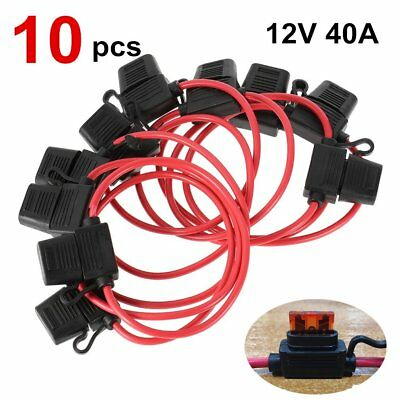 10pc 12V 40A Standard Blade Inline Fuse Holder with Waterproof Dustproof Cover #