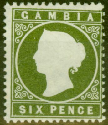 Gambia 1889 6d Bronze-Green SG33a Sloping Label Fine & Fresh Lightly Mtd Mint