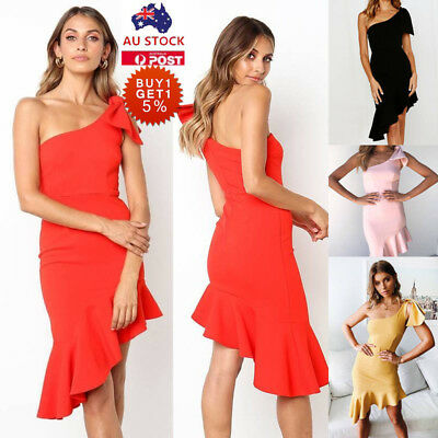 Women One Shoulder Frilled Bodycon Dress Ladies Cocktail Evening Prom Mini Dress