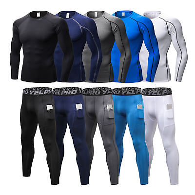 MENS COMPRESSION BASE Layer Tights Pants Shirts Fitness Running Cool dry  Tops