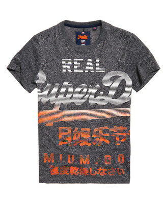 New Mens Superdry Premium Goods Fade T-Shirt Vintage Black Grit
