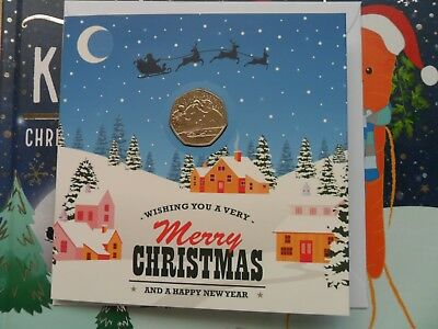 UK 2018 Snowman 50p Christmas Card and Brilliant Uncirculated Fifty Pence Coin
