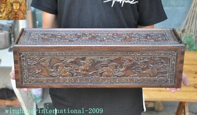 "20""Chinese Huanghuali Old Wood carved Wealth Animal Bat Statue Storage Box Boxes"