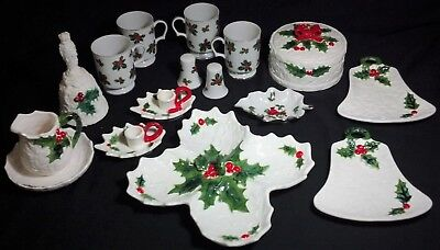 Vintage Lefton Holly Berry White 16 pc. ~ Beautiful Assortment ~