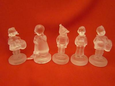 Five Goebel Hummel Fiqurine Frosted Glass 5 Different Fiqures