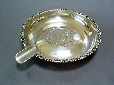 Antique Sterling Silver/ Sds Coin Ashtray/east India Co 1 Rupee 1835/hans Nendza