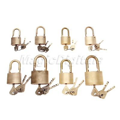Brass Dresser Wardrobe Padlock Suitcase Bedroom Drawer Cupboard Lock & 3 Keys