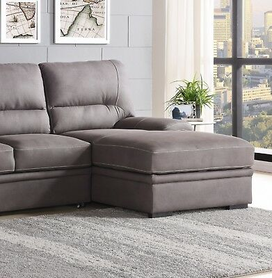 LIVING ROOM FURNITURE 2pc Sectional Sofa Set Gray Sofa Chaise Cushion Arms  Couch