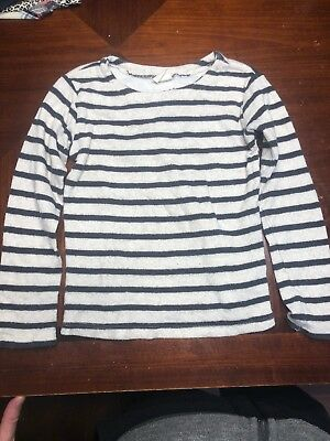 VGUC Zara Girls Casual Collection White Navy Striped Sweater Size 5/6 Years