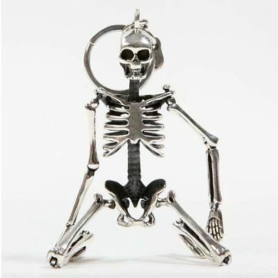Key Chain Fordable Skeleton Pendant Antique Silver Metal Alloy Skull Charm Ring