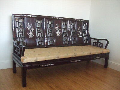 Chinese Rosewood Bench / Sofa - 3 Seat - Reproduction - MOP shell inlaid