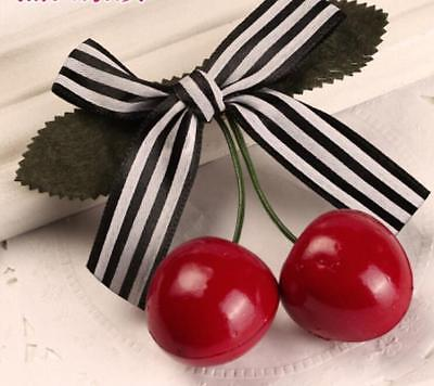 Cute Lovely Sweet Girl Kids Retro Vintage Pink Bow Cherry Hair Clip Hairpin G$CA