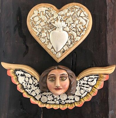 Milagros Heart + Carved Wood Angel With Charms, (2) Pc Set, Mexican Folk Art