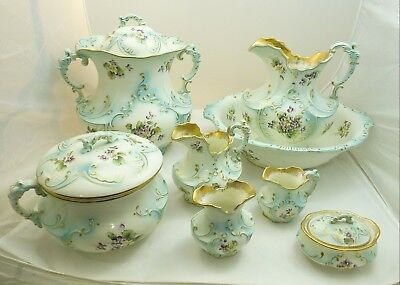 Haynes 12 Piece Vanity Set Violets Hand Painted Antique Basin Chamber Pitcher