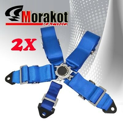 2x (Pair)  3'' Inch 5 Point Quick Release Camlock Racing Seat Belt Harness Blue