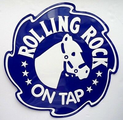 "Vintage Rolling Rock Beer Metal Sign - 17""  Blue and White"
