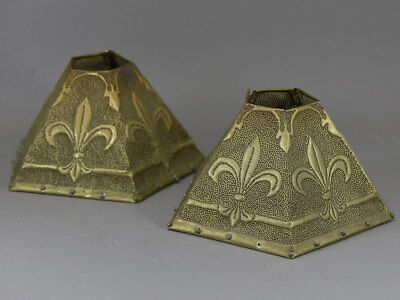 Newcomb School Style Arts & Crafts Fleur-de-Lys Punched Pierced Brass Shade Pair