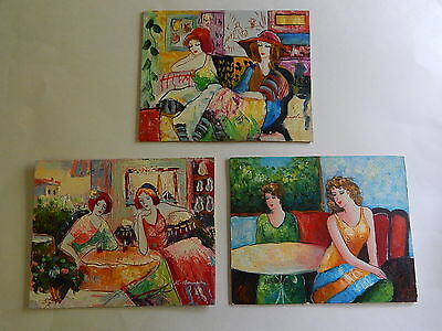 """(3) Oil Paintings on Wood 8"""" x 10"""" Women at Cafe Bar"""
