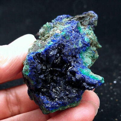 Blue Natural Raw Azurite Crystal Cluster Geode Mineral Stone Specimen Ornament
