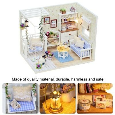 Miniature Doll House Mini Wooden Dollhouse w/LED Lights Furniture DIY Kit Gift