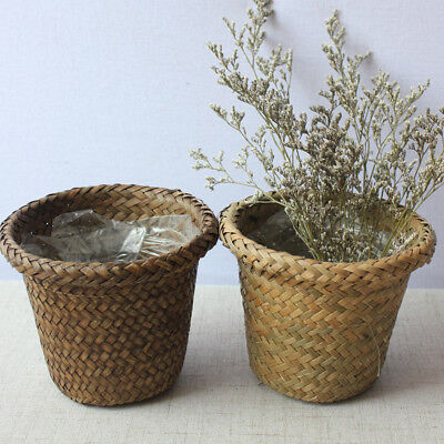 1 Pcs Seagrass Flower Belly Storage Basket Plant Woven Pot Laundry Bags UK Hot