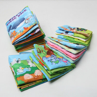 Small Baby Shower Bath English Cartoon Animal Cloth Book Education Games Toy New