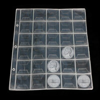10 Pages 30 Pockets Plastic Coin Holders Storage Collection Money Album Case DU
