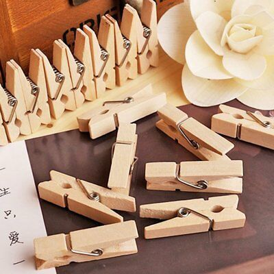 50/100X 25mm Mini Wood Wooden Pegs Natural Wedding Clothes Pin Line Photo DU